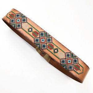 Fossil | Leather Boho Waist Belt Embroidered